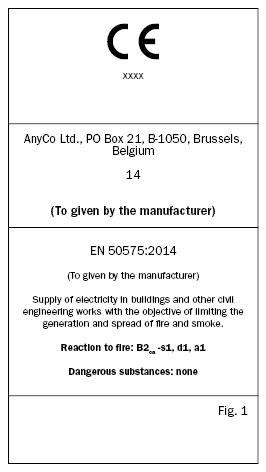Sticker for CE marking and product identification