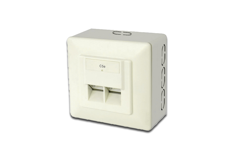 Wall Outlet 2 x RJ45 shielded surface mount DIGITUS DN-9002-N CAT 5e